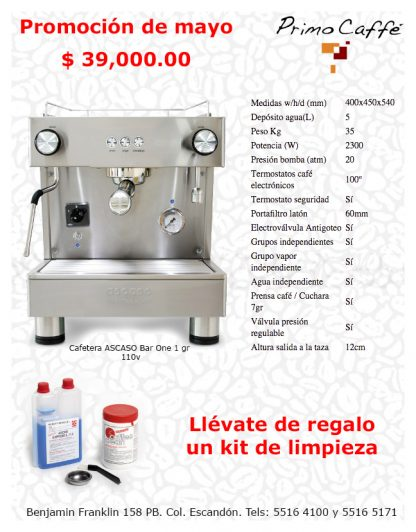 Cafetera ASCASO Bar one 110v